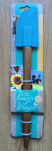 Pioneer Woman Turquoise Blue Silicone 12 1/2 Wood Handle Flat Spatula