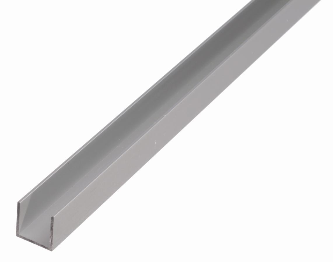 1000 x 15 x 10 mm U-Profil aus Aluminium silberfarbig eloxiert