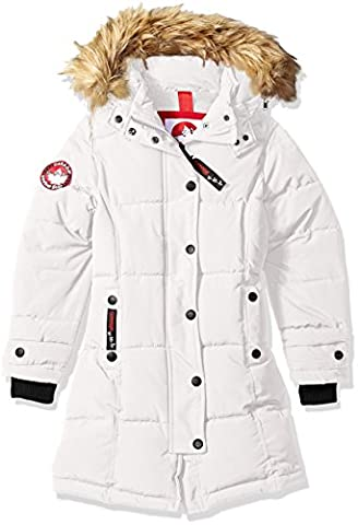 Canada Weather Gear Big Girls' Long Outerwear Jacket (More Styles Available), White a, 7/8 - Fur Trimmed Knit Jacket
