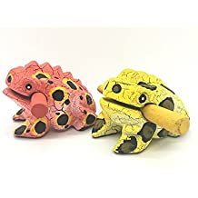 Thai Hand-made Percussion Instruments Wooden Frog 2 Piece Set, of 3 Inch Small Wood Frog Musical Instrument, Products From Thailand (ww003)