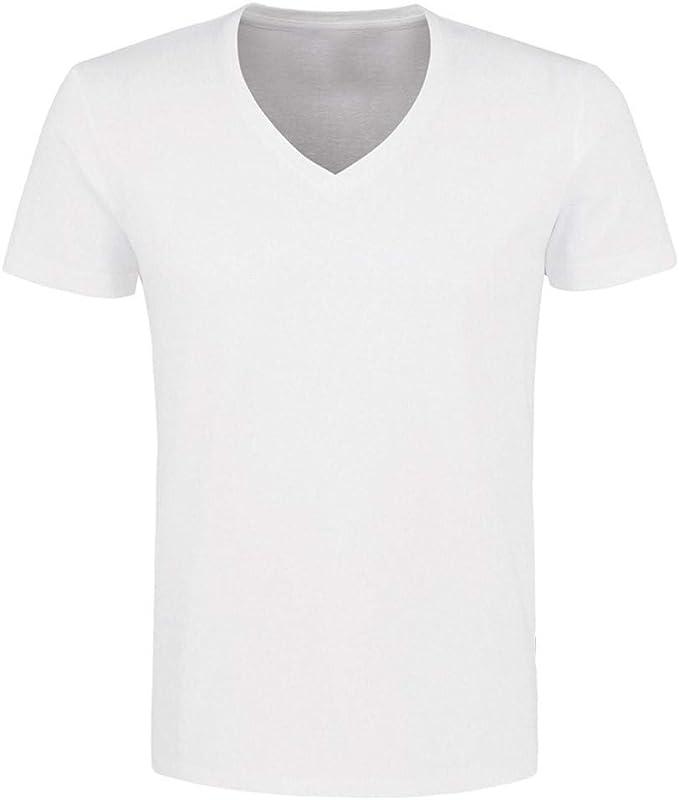 Lote de 4 camisetas interiores básicas para hombre con cuello en V ...