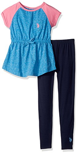 - U.S. Polo Assn.. Little Girls' Toddler Snowflake Raglan Knit Tunic Top and Legging, Blue Heather, 2T