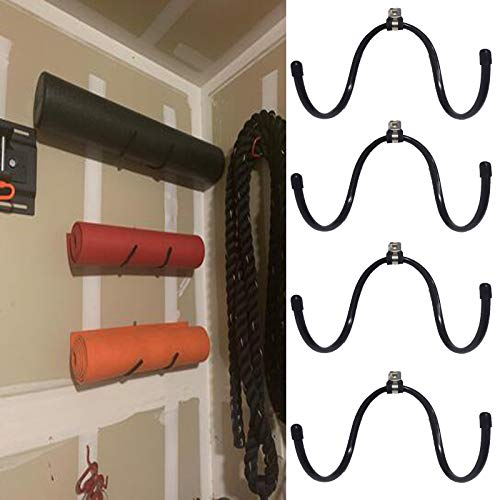 AUXPhome Wall-Mounted Yoga Mat Foam Roller and Towel Rack Holder- Yoga and Barre Mats Storage Rack Wall Holder Storage Shelf Exercise Mat Rack Hanging for Your Fitness Class or Home Gym, (4 Pack) (Yoga Mat Storage)