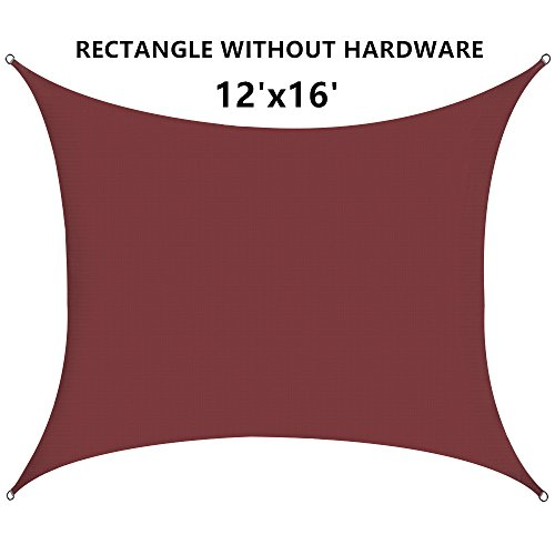 Outhere 12'X16' Sun Shade Sail Rectangle - Oversize Durable Outdoor Canopy UV Shelter for Patio Lawn - Rust (Pergola Deck Kit)