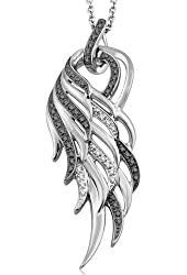 925 Sterling Silver Angel Feather Wing White and Black Diamond Pendant Necklace (0.17 carat)