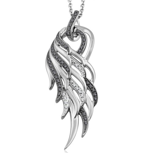 Diamond Wing Pendant (925 Sterling Silver Angel Feather Wing White and Black Diamond Pendant Necklace (0.17 carat))