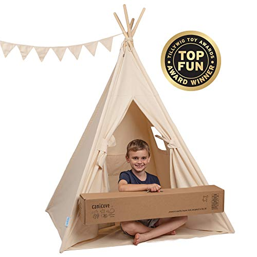Canicove Teepee Tent for Kids - Award Winning 100% Cotton Play Tent - Large Indoor/Outdoor Tipi for Boys & Girls + Free Fun Flags!