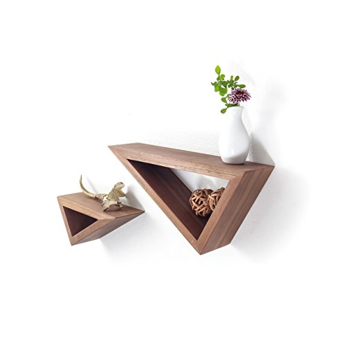 Triangular Floating Black Walnut Shelves