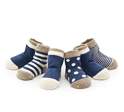 Cuca Dunna Infant Socks Baby Socks Toddler Socks For Girls And Boys,Cute socks 4 Pairs (S 6-12months, Blue)