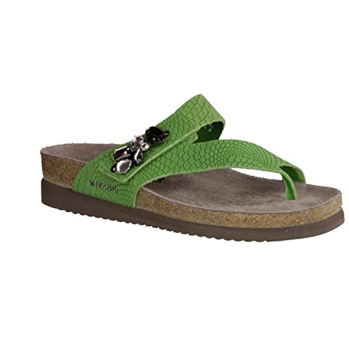 Mephisto Halice - Zapatos mujer Zapato abierto / Chanclas de dedo, Verde, cuero (rio)