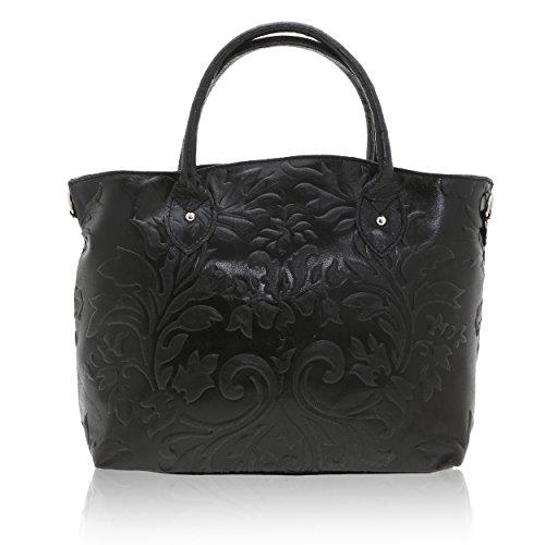 35 Italy 28 Borse véritable cuir x Cm Sac Noir en femme x in 11 Made à main Chicca B1xvPqq