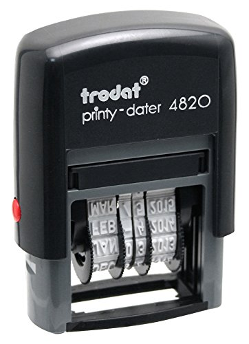 Trodat Economy Self-Inking Date Stamps, Stamp Impression Size: 3/8 x 1-1/4 Inches, Black, 2-Pack -