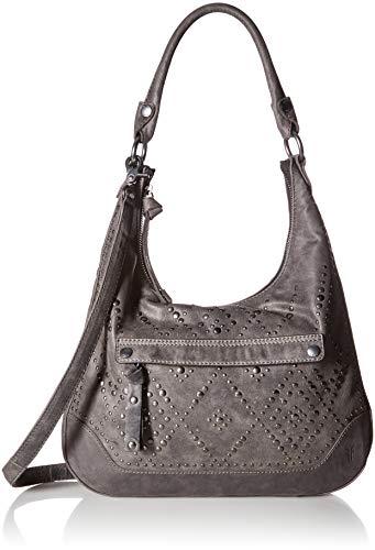 (FRYE Melissa Studded Large Zip Hobo Handbag, Slate)