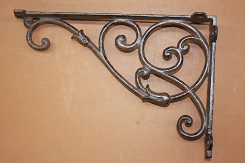 "Set of 4 Cast Iron Shelf Brackets New Antique-Style FANCY 9 1//2/"" x 9 1//2/"""