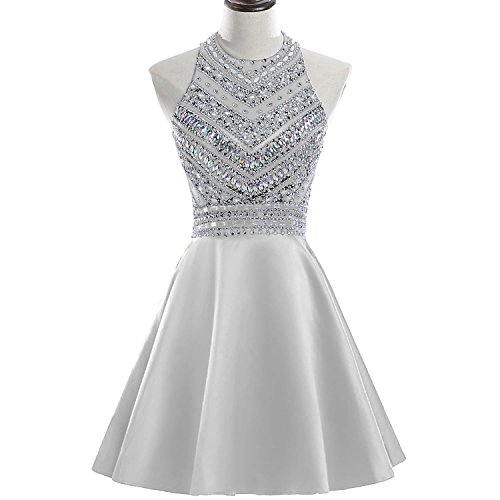 y Beaded Homecoming Dresses Sequined Prom Gowns Short H212 10 Silver ()