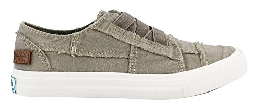 Blowfish Women's Marley Fashion Sneaker, Steel Grey Color Washed Canvas, 7.5 M US