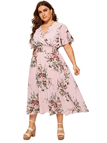 Milumia Women Plus Size Surplice V Neck Floral Boho Maxi Prom Dress Pink 2X
