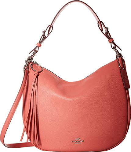 COACH Women's Polished Pebble Leather Sutton Hobo Bright Coral/Silver One Size