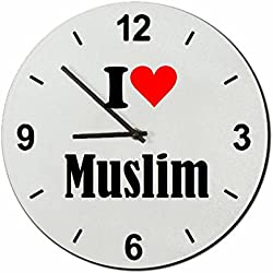 "Exclusive Gift Ideas: Glass Watch ""I Love Muslim"" a Great gift that comes from the Heart- Watch- Ø20 cm- Christmas Gift"