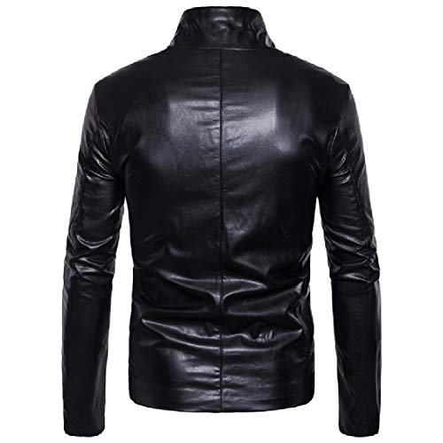 Energy Mens Black Collar Zipper Solid Jackets Oblique Stand up PU Outwear UpO4Uw