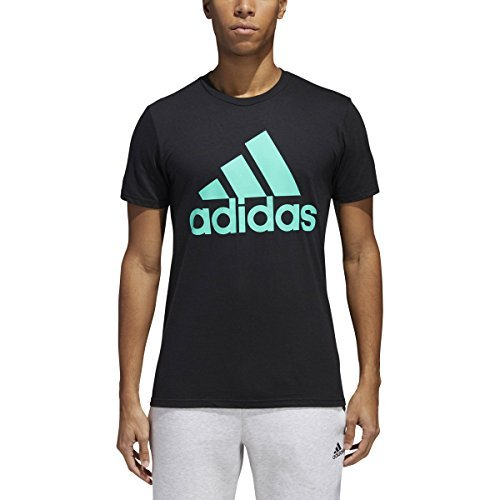 adidas Men's Badge of Sport Graphic Tee, Black/Hi-Res Green, X-Large ()