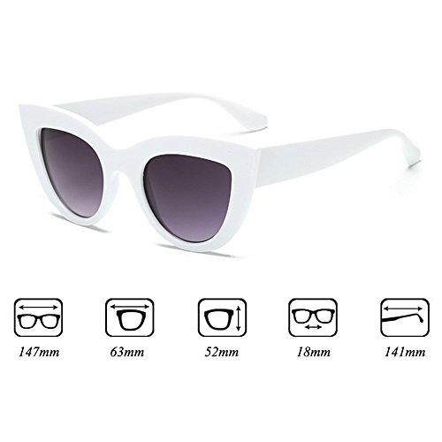 de negro Eye de vintage marco mujer mujer para Cat sol blanco Gafas de Lente Gafas sol retro 1a8dwUqf