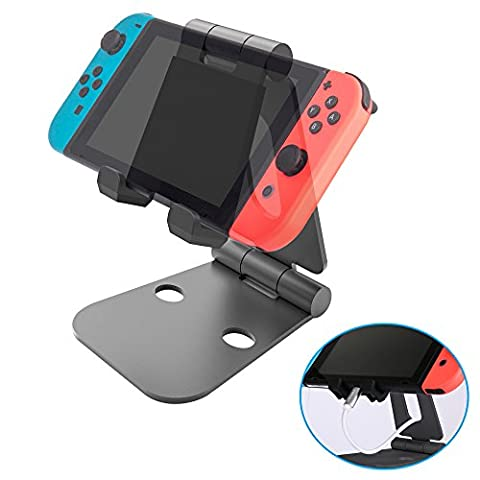 Nintendo Switch Stand, iDudu Foldable Adjustable Desktop charging Stand Cradle Holder for Nintendo Switch, iPhone, iPad and all Cellphones, Smartphones, Tablets, (Samsung Android Docking Station)
