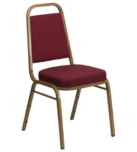 HERCULES Series Trapezoidal Back Stacking Banquet Chair with Burgundy Patterned Fabric and 2.5'' Thick Seat - Gold Frame
