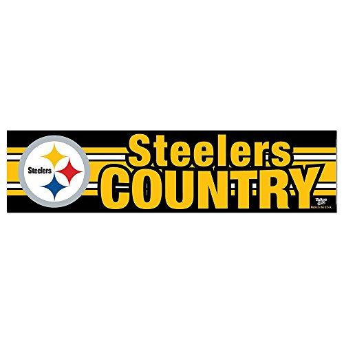 "NFL Pittsburgh Steelers 69323091 Bumper Strip, 3"" x 12"", Black at Steeler Mania"