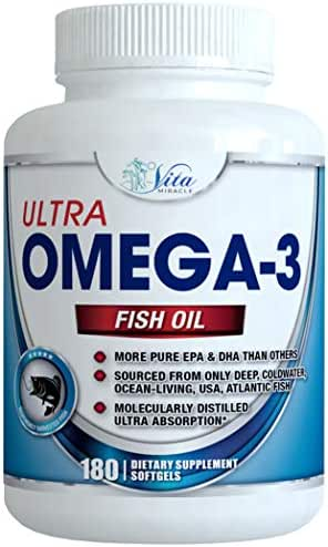 Omega 3 Fish Oil Burpless - 3000mg Ultra Strength EPA and DHA Capsules Joint Support Supplement Fatty Acids Best Fish Oils 180 Count Pills