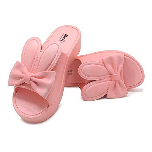 Polliwoo Femmes Salle De Bains Pantoufles Sandales De Plage Kenroll Tongs Dintérieur Plat Antidérapant Pantoufles Lanières Valentines Jour B2078-rose