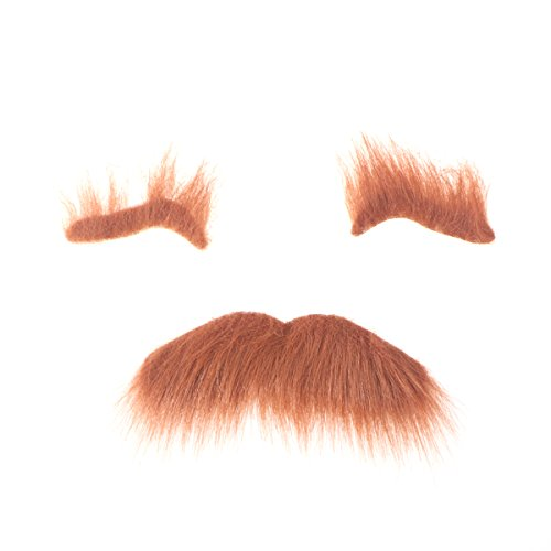 BESTOYARD Three-Piece Novelty Halloween Costumes Self Adhesive Fake Eyebrows Beard Moustache Kit Facial Hair Cosplay Props Disguise Decoration for Masquerade Costume Party (Brown)