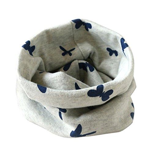 Auxma Otoño Invierno Niños Niñas collar bebé de la bufanda del Algodón Pañuelos,mariposa impreso Gris