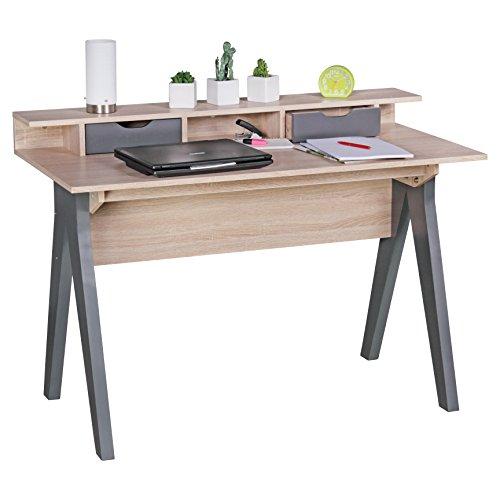 WOHNLING 120 cm | Design Buro in Sonoma Eiche/Grau | Moderner Tisch mit 2 Schubladen und Stauraum | Platzsparender Computer-Schreibtisch fur Laptop geeignet Escritorio, Madera, 120 x 60 x 86 cm