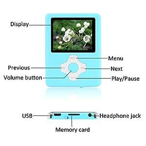 Crillutar Reproductor De MP3 De 16 GB Reproductor De MP4 (Azul)