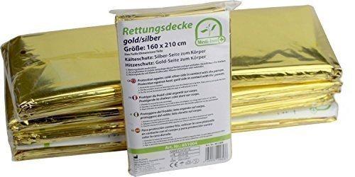 10 Stück Rettungsdecken GOLD-SILBER Rettungsfolie Medi-Inn Rettungsdecke 160 x 210 cm