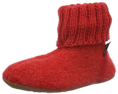 Haflinger Unisex-Kinder Karlo Everest Hohe Hausschuhe Rot (Rubin 11)