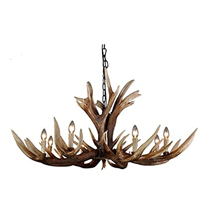 EFFORTINC Antlers vintage Style resin 6 light chandeliers, American rural countryside antler chandeliers,Living room,Bar,Cafe, Dining room deer horn chandeliers