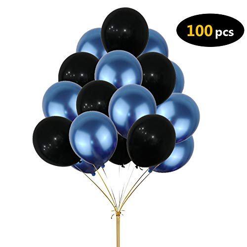 Party Balloons, Yoart Happy Birthday Party Decoration Balloons Wedding Party Supplies Blue and Black Foil Balloons for Boys Girls Women Men -