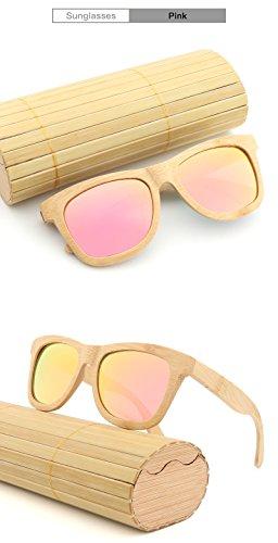 Lunettes rétro Main à Ruanyi Produit pour Haute Bambou en la Bois Hommes comme de de Amis Lunettes en Cadeaux Femmes Soleil Soleil de Pink qualité polarisées q7RU8wq