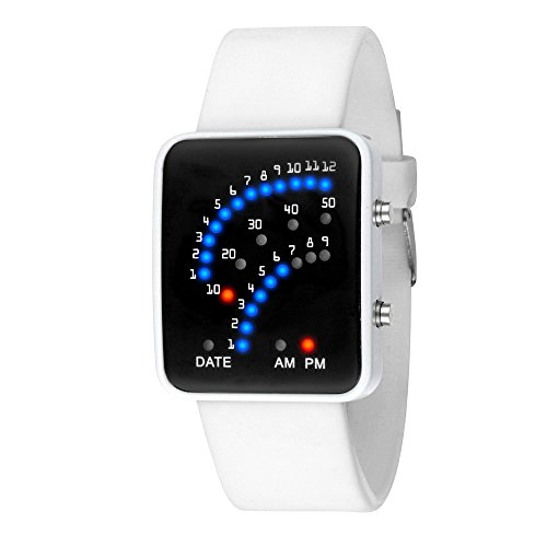 Alalaso Women Mens Futuristic Style Multicolor LED Sport Wrist Watch Bussniess Simple Watch (White)
