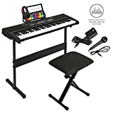 Best Choice Products 61-Key Beginner Electronic Keyboard Piano Set with 3 Teaching Modes, H-Stand, Stool, Music Stand, Headphones (Black)