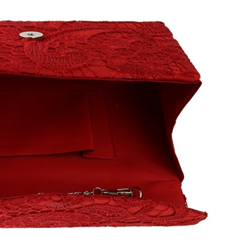 Champagne Red Satin Clutch HandBags Bag Lace Girly qvBzwHO