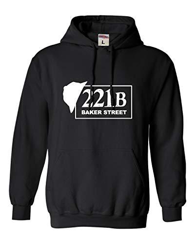 Go All Out Small Black Adult 221B Baker Street Sherlock Holmes Inspired Sweatshirt Hoodie