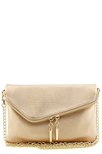 Envelope Wristlet Clutch Crossbody Bag with Chain Strap (Rose Gold)