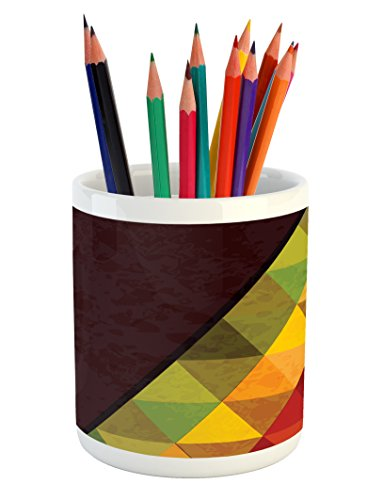 Lunarable Abstract Pencil Pen Holder, Geometrical Triangular Polygons with Aged Grungy Look Stained Glass Style Mosaic, Printed Ceramic Pencil Pen Holder for Desk Office Accessory, ()