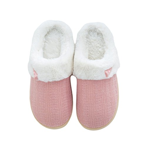 Btrada Pink Warm Buttons Cozy Cute Cotton Couple Womens Fluffy Fur Lined Mens Slippers Slippers Slippers 6x6qUAr