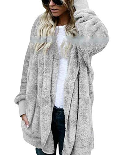 Inverno Lunghe Teddy Trapuntato Pile Casuale Cappotto Maniche Donna Cardigan Cuddly Con Cappuccio Battercake Grau Caldo In A Donne sQrxtdhC