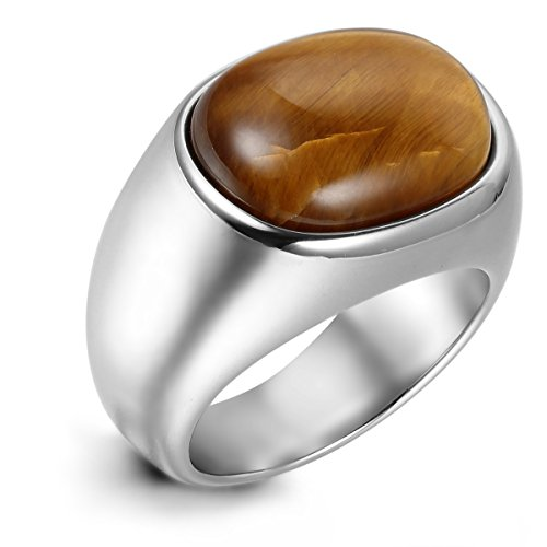Flongo Men's Vintage Stainless Steel Brown Oval Cabochon Ring Classic Tiger Eye Band