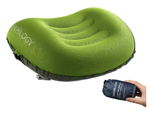 Trekology Ultralight Inflatable Camping Travel Pillow - ALUFT 2.0 Compressible, Compact, Comfortable, Ergonomic Inflating Pillows for Neck & Lumbar Support While Camp, Hiking, Backpacking (Travel Pillow Compressible)
